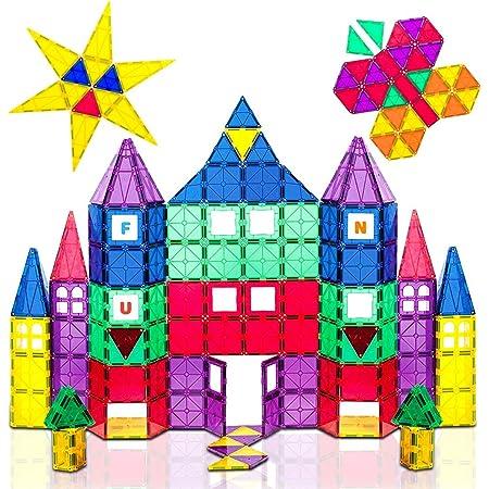 Playmags 100 pièces Super Set: avec Les Plus forts aimants garantis, Robuste, Super Durable avec des Carreaux de Couleur vive. Accessoires Clickins de 18 pièces pour améliorer Votre créativité