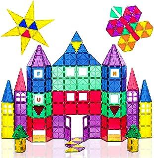 Playmags 3D Bloki magnetyczne dla dzieci - 100 bloków Zestaw do nauki kształtach, kolorach i alfabetów - STEM magnetyczny ...