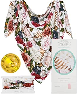 Posh Peanut Baby Swaddle Blanket - Large Premium Knit Baby Swaddling Receiving Blanket and Headband Set, Baby Shower Newborn Gift (Black Rose)
