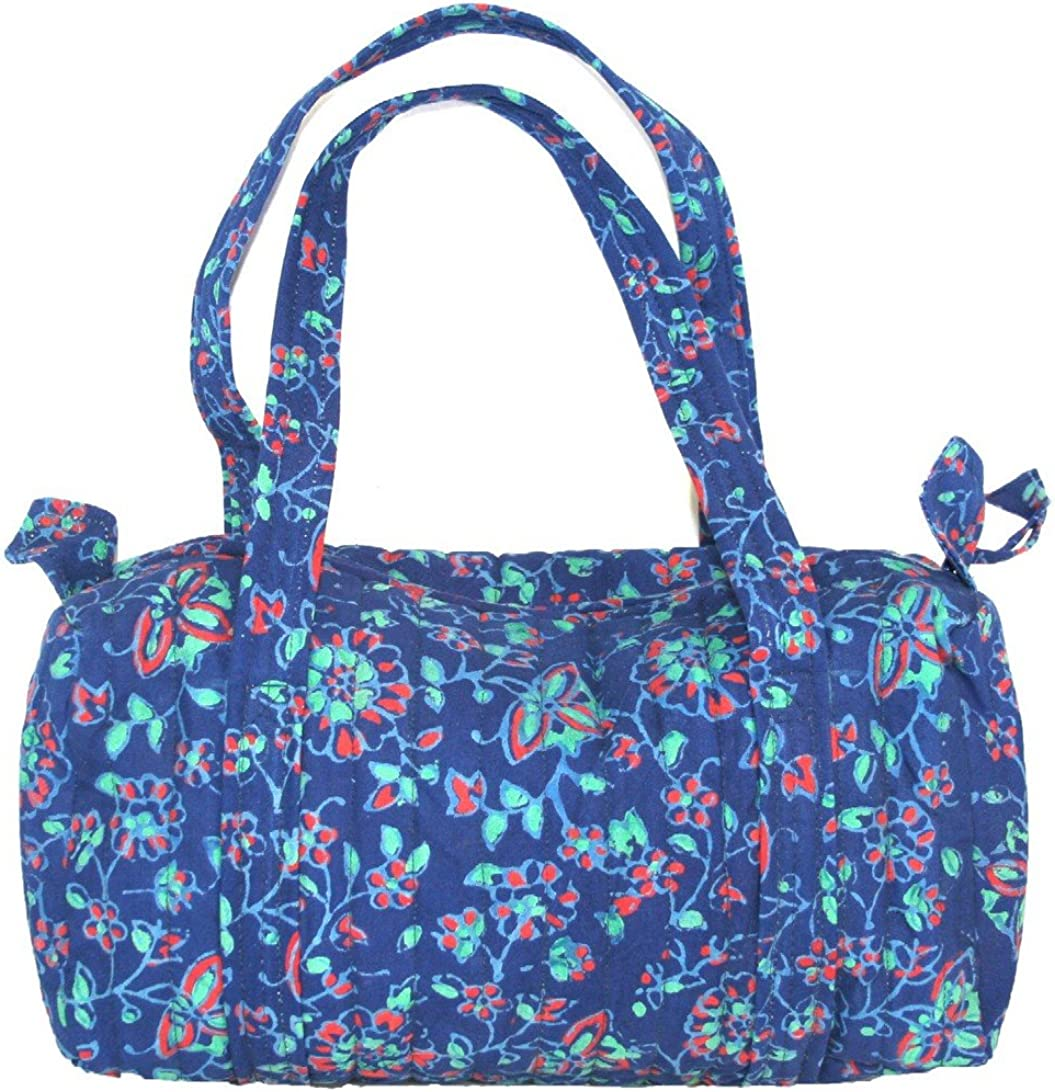 Block Printed Cotton Quilted Napthol Carry All Bag 14 x 8