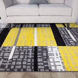 The Rug House Alfombra Patchwork para Sala de Estar con diseño de Cuadros Bohemios en Colores Ocre Amarillo Mostaza y Dorado 80cm x 150cm