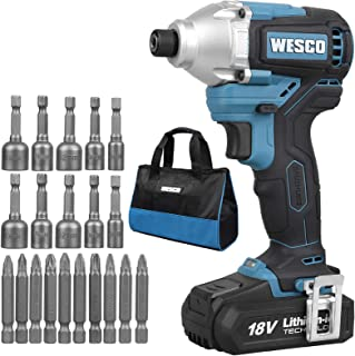 Brushless Impact Driver, WESCO 18V 2.0Ah Cordless Impact Drill Driver with 21 Accessories,180 Nm,0-3600bpm, Drill Chuck 6....