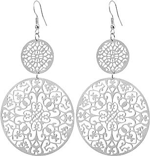 Lange Ohrringe Silber Tropfen Blumen Muster Ohrringe lang Hängend Groß Antik Optik Blatt Rund Ohrringe Bohemian Ohrringe Blätter Ornamente