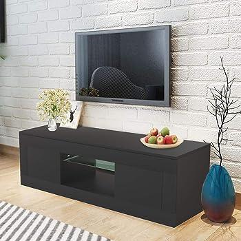 WISFORBEST Mueble TV LED Mueble de Salón Moderno Gabinete para Televisión hasta 60 Pulgadas con 2 Cajones Grandes y Estante de Vidrio Carga Máx 60kg 125 x 35 x 40cm (Negro): Amazon.es: Electrónica