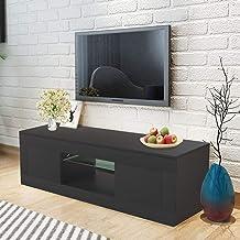 WISFORBEST Mueble TV LED Mueble de Salón Moderno Gabinete para Televisión hasta 60 Pulgadas con 2 Cajones Grandes y Estante de Vidrio Carga Máx 60kg 125 x 35 x 40cm (Negro)