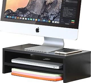 FITUEYES 2 Capas Elevador del Monitor de Madera Soporte para Monitor Color Negro DT204201WB