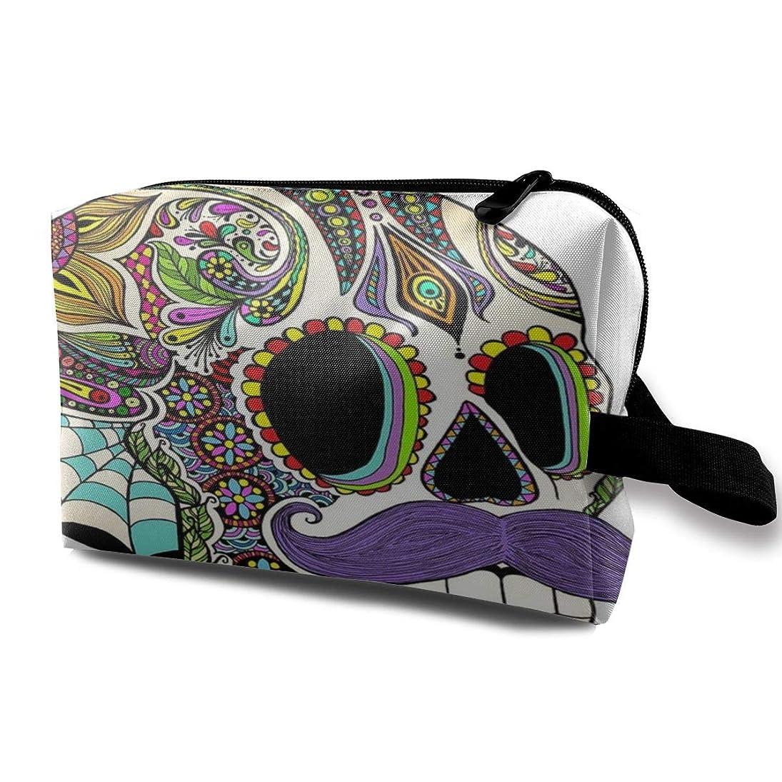 荒野うるさい手数料Colorful Aztec Skull Sugar Skull 収納ポーチ 化粧ポーチ 大容量 軽量 耐久性 ハンドル付持ち運び便利。入れ 自宅?出張?旅行?アウトドア撮影などに対応。メンズ レディース トラベルグッズ