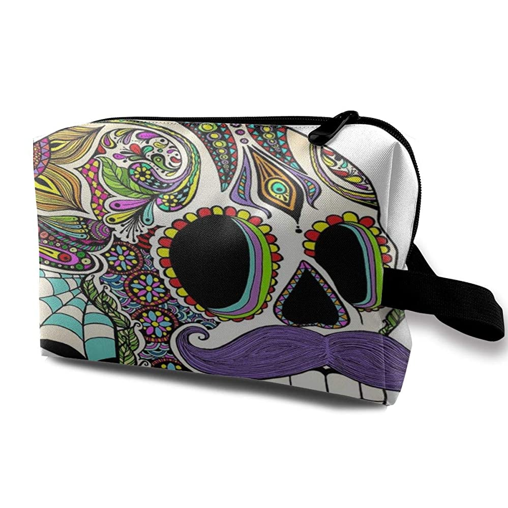 素晴らしき接続詞スポンサーカラフルなアステカの頭蓋骨シュガースカル 化粧バッグ 収納袋 女大容量 化粧品クラッチバッグ 収納 軽量 ウィンドジップ