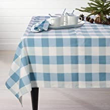 Lamberia Tablecloth Heavyweight Vintage Burlap Cotton Tablecloths for Rectangle Tables, 60-Inch-by-104, Blue and White Checkered, Seats 10 to 12 People
