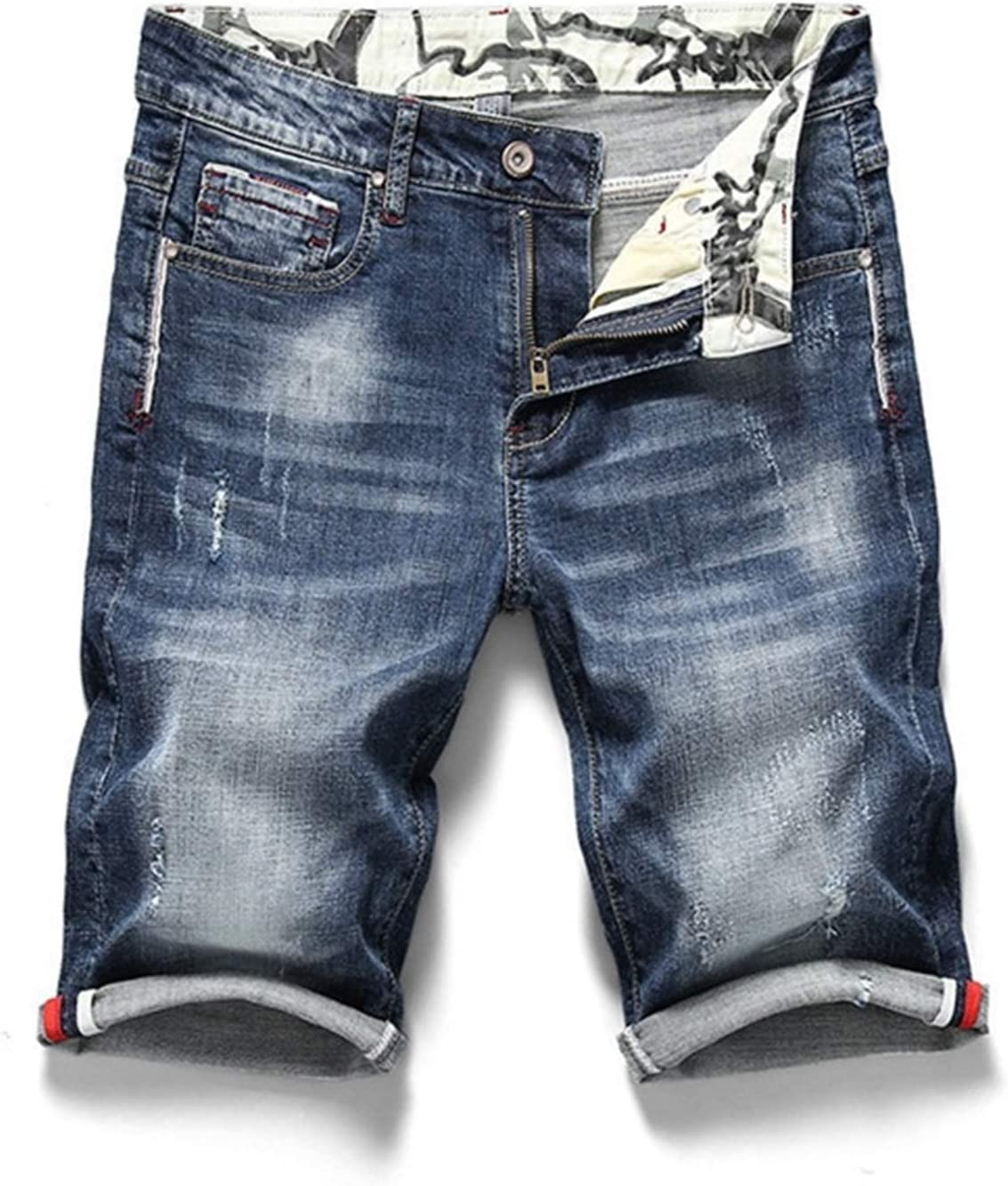 ZZRR ZHUORUIJPN Summer New Man Stretch Short Jeans Fashion Casual Slim Fit of Denim Elastic Shorts Masculine Shorts (Color : Dark Blue, Size : 40)