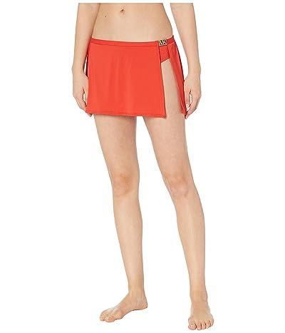 MICHAEL Michael Kors Logo Solids Belted Skirt Bottoms (Persimmon) Women