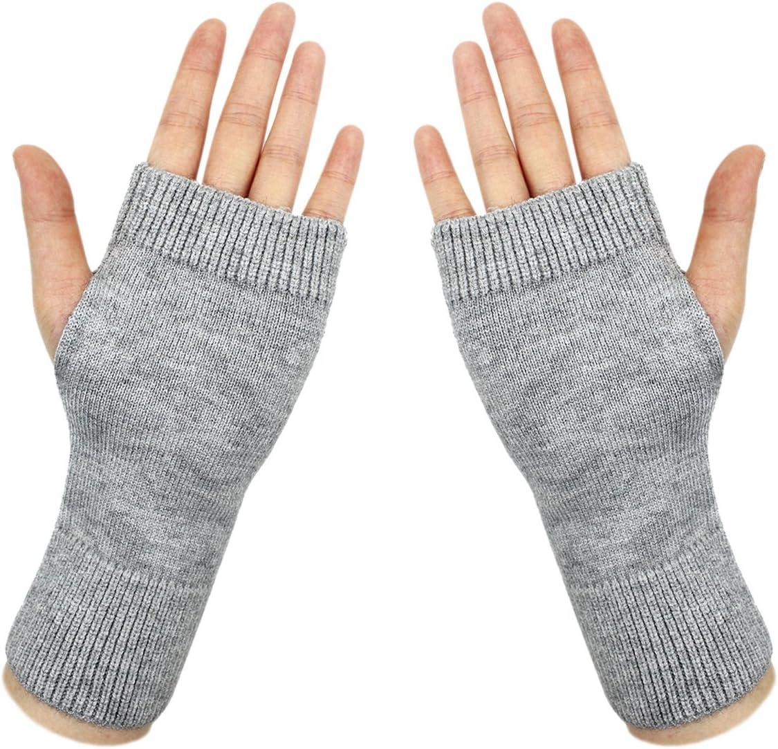 Ai bearty Lightweight Half Fingerless Mittens Thumb Hole Warm Gloves for Women