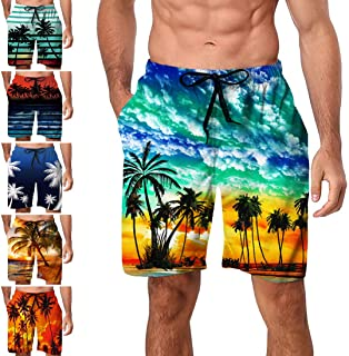 cc23e0fb1604f Freshhoodies Mens Hawaiian Swim Trunks Coconut Palm Tree Beach Board Shorts  with Mesh Lining Swimwear Bathing