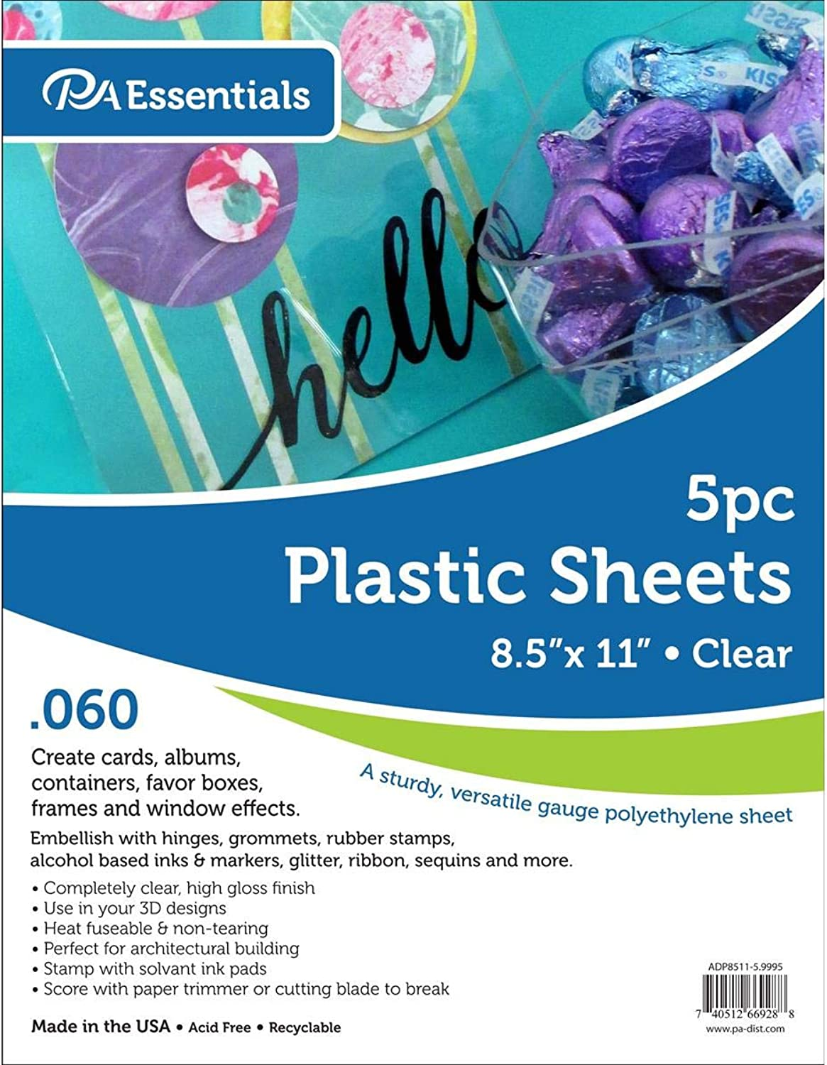 Paper Accents 060  5pc Plastic Sheet 8.5x11 Clear