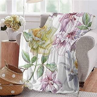 Soft Lightweight Blanket Rose Petals Sakura Lily Flowers Blooms Romance Florets Design Light Pink Yellow Fern Green Sofa Camping Reading Car Travel W54 xL84
