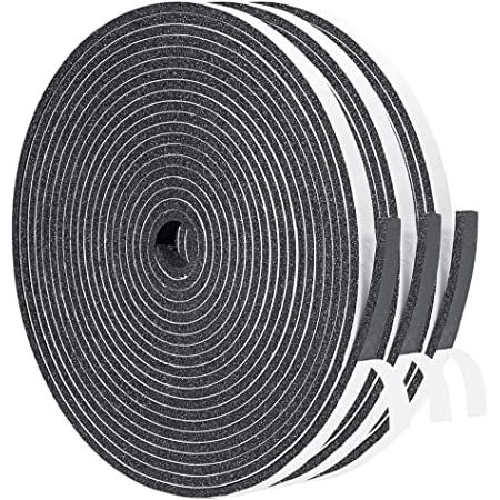 Yotache Foam Tape 3 Strips Total 50 Feet Long 1/4 Inch Wide X 1/8 Inch Thick, Weather Stripping for Doors and Window High Density Foam Seal Tape Sliding Door Weather Strip, 3 X 16.5 Ft Each