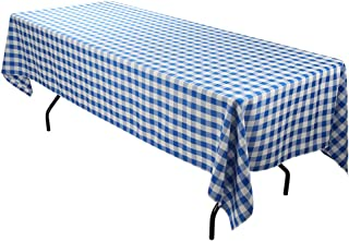 E-TEX Rectangle Tablecloth - 60 x 102 Inch - Blue and White Rectangular Table Cloth for 6 Foot Table in Washable Polyester