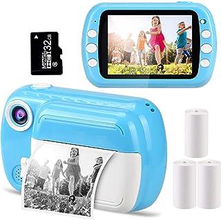 GlobalCrown Cámaras instantáneas para niños,Cámaras de Fotos instantánea con Pantalla de 3,5 Pulgadas Regalos cámaras Digi...