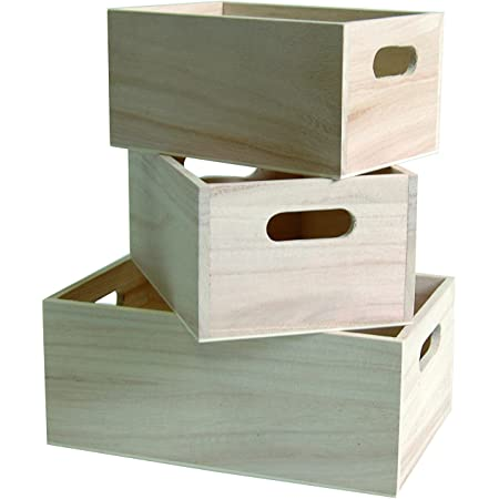 Artemio 14001473 3 caisses gigognes en Bois, Beige, 21,5 x 7 x 12