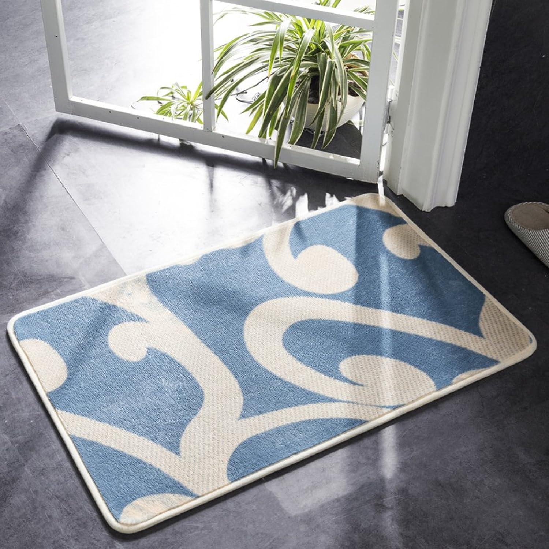 Door mat,Doormats Door Carpet Bedroom Kitchen Hall Bathroom Water-Absorbing mat Non-Slip mat-bluee A 80x100cm(31x39inch)