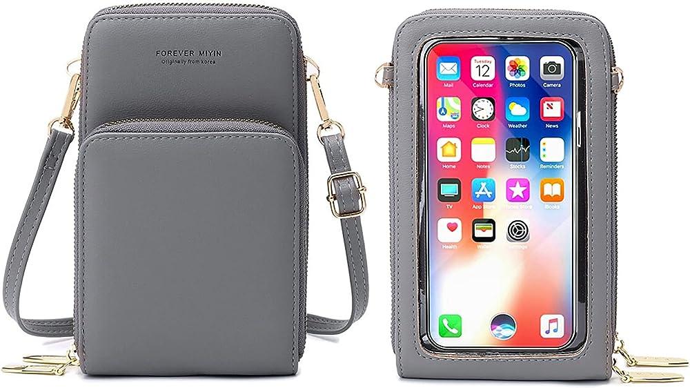 Rrancharltu portafoglio porta carte di credito porta cellulare per donna in pelle sintetica grigio