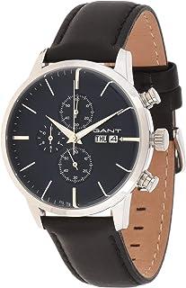 ساعة يد اشفيل للرجال من غانت G Gww063001، مينا ازرق وسوار من الجلد ونظام عرض انالوج ونظام حركة ميوتا Os00