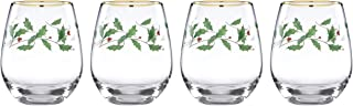 Lenox 888202 Holiday 4-Piece Stemless Wine Glasses