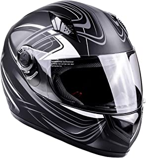 Typhoon Adult Full Face Motorcycle Helmet DOT (Matte Grey, Small)