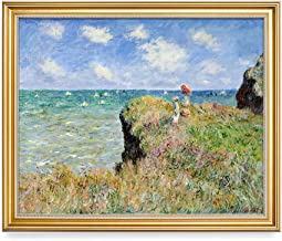 DECORARTS - The Cliff Walk at Pourville Claude Monet Art Reproduction. Giclee Print Framed Art for Wall Decor. 16x20, Total Size w/Frame: 18.5x22.5