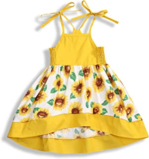 YOUNGER TREE Toddler Baby Girl Halter Sunflower Printed Princess Dress Summer Outfits Kids Clothing
