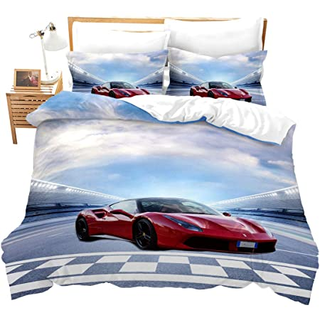 Feelyou Car Quilted Coverlet Vintage Car Coverlet Set Sports Car Bedspread for Kids Adults Automobile Style Car Sports Competition Bedding Collection Ultra Soft Room Decor Twin Size