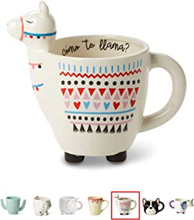 White Ceramic Coffee or Tea Mugs: Tri-Coastal Design Como Te Llama Coffee Mug with Hand Printed Designs and Printed Saying - 18.6 Fluid Ounce Large, Cute Handmade Cup
