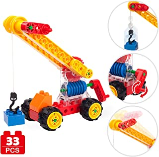 Crane Model Large Particles Building Blocks Mechanical Gear Engineering Vehicles with Wheel and Hook - Kids Toys Worm Gear Crane DIY Puzzle Construction Building Kits for Boys and Girls Gifts