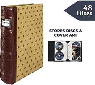 Bellagio-Italia Crimson DVD Storage Binder - Stores Up to 48 DVDs, CDs, or Blu-Rays - Stores DVD Cover Art - Acid-Free Sheets