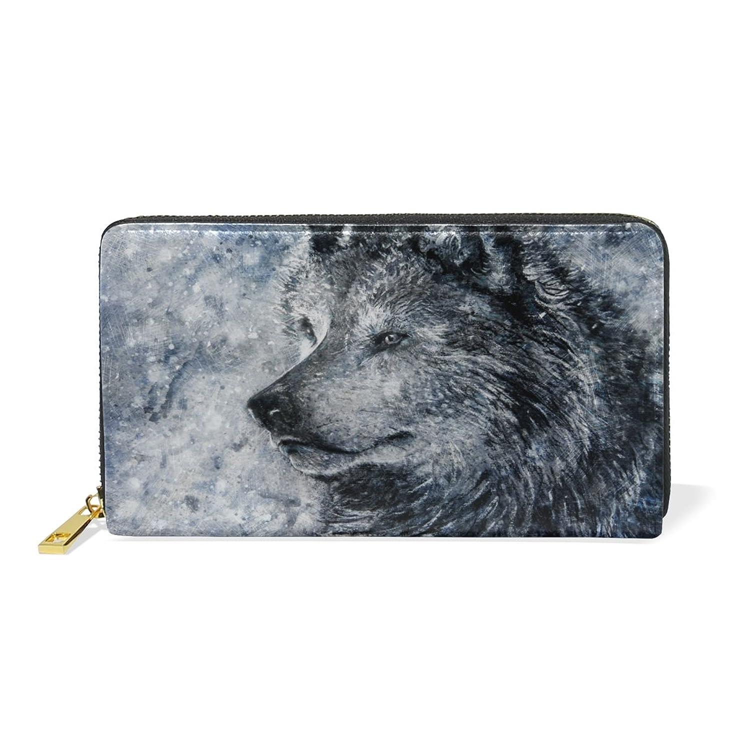 製造後立証するAOMOKI 財布 長財布 本革 大容量 レディース ラウンドファスナー 通学 通勤 狼