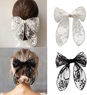 2pcs/Set Women 8 Inch Big Bow Hair Clips - Korean Style Lace Embroidery Hair Barrettes