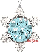 Seamless Christmas Pattern with Doodle Animals Metal Snowflake Christmas Ornaments for Tree The Home Bedroom Decor for Kid...