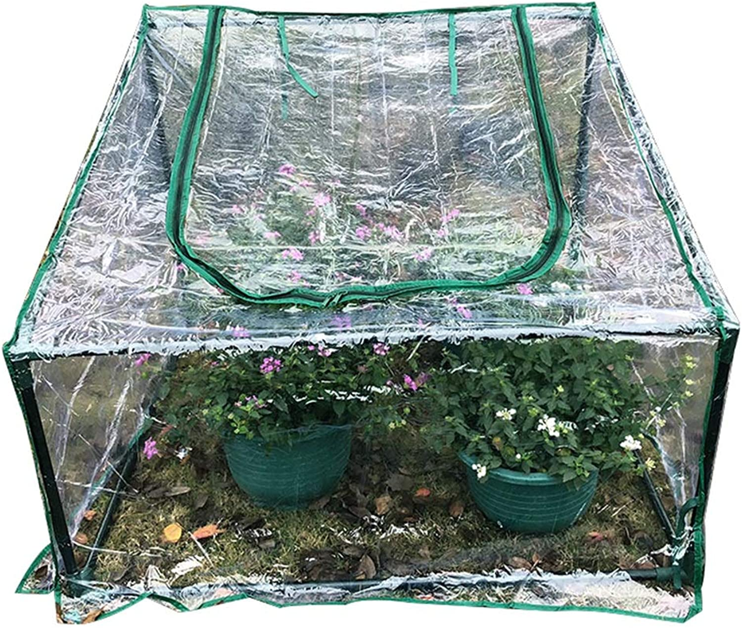 HAIPENG Mini Greenhouse Garden Growhouse Hothouse Plant Growing Portable Plastic PVC Cover Cold Frames Balcony (color   Clear, Size   90x90cm)