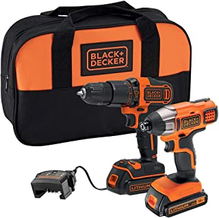 BLACK+DECKER 18 V Cordless Combi Drill Power Tool with Impact Drill Driver, Storage Tool Bag, 2 x 1.5 Ah Lithium-Ion Batte...