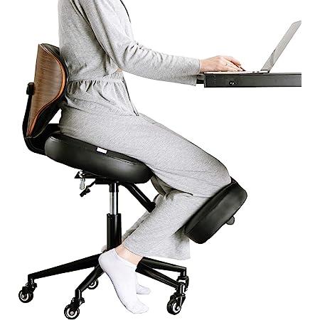 YOOMEMM バランスチェア 大人 ニーリングチェア 椅子 テレワーク 在宅勤務 イス 天然木背もたれの付いたガス圧式プロポーションチェア高さと角度を調整可能