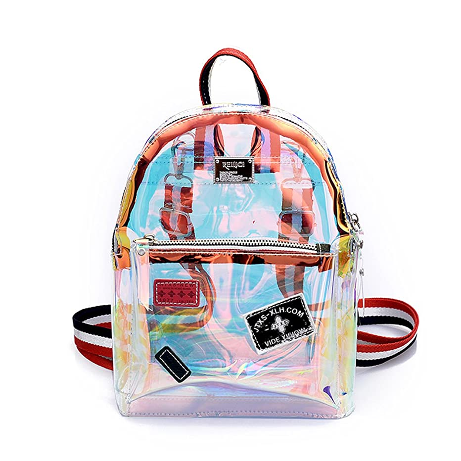 Women Transparent Backpack Small PVC Clear Bag Waterproof School Bag for Teenage Girls (S)
