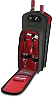 KOVOT 9 Piece Wine Travel Bag and Picnic Set Including 2 Wine Glass Holder Stakes