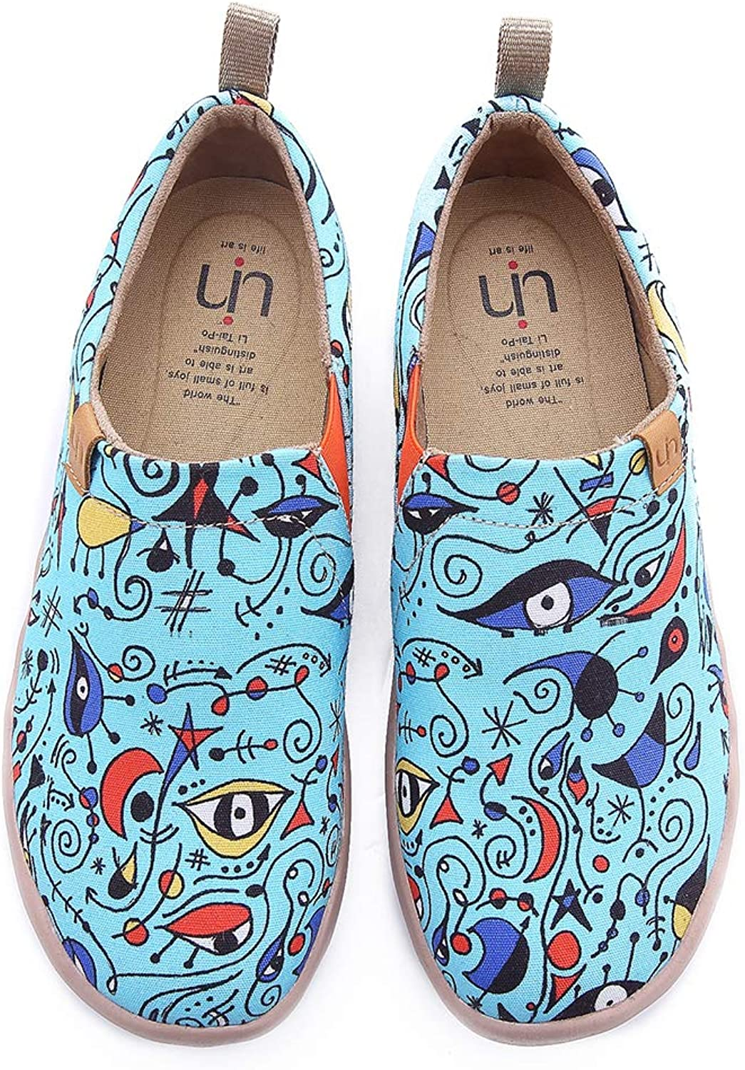 UIN Women's bluee Ocean Painted Canvas Loafer shoes bluee