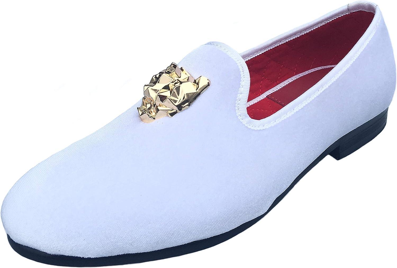 Justar herrar svart sammet Loafers Slip -on -on -on Dress skor with guld Buckle Slippers Flats  handla online idag