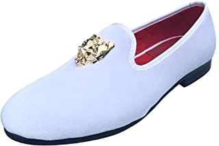 Justar Mens Black Velvet Loafers Slip-on Dress Shoes with Gold Buckle Slippers Flats