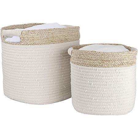 La Jolie Muse Lot de 2 paniers de rangement en corde de coton avec peau de maïs pour jouets de bébé, couvertures à linge, décoration d'intérieur, cadeau, couleur naturelle, beige
