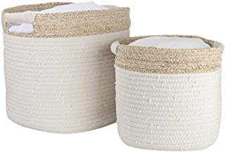 LA JOLIE MUSE Cotton Rope Storage Baskets with Corn Skin Set of 2, Organizer Bins for Baby Toys Laundry Blankets, Home Déc...