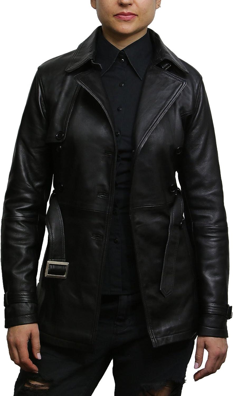 Brandslock Womens Genuine Leather Biker Jacket Coat Vintage Retro Design