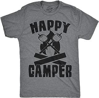 Mens Happy Camper Shirt Funny Camping Shirts Cool Vintage Tees Retro Design