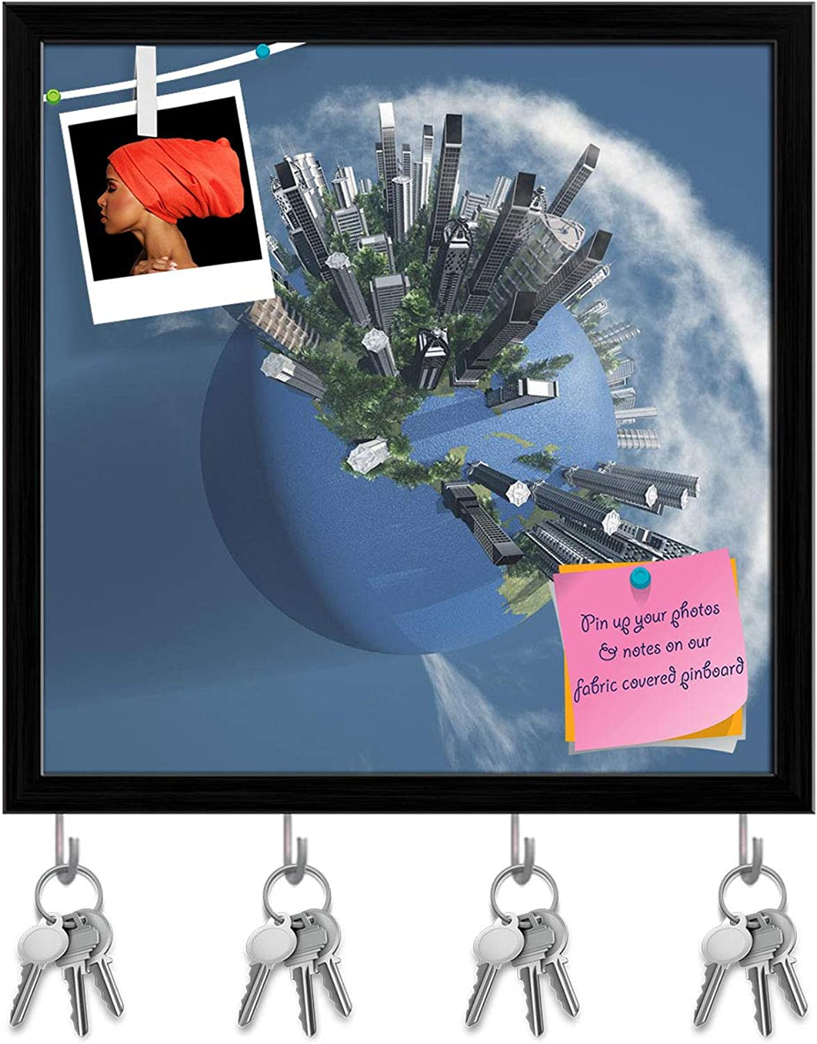 Artzfolio City Earth with Clouds D2 Key Holder Hooks   Notice Pin Board   Black Frame 20 X 20Inch